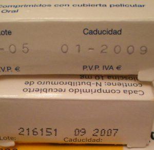 Envases de medicamentos caducados